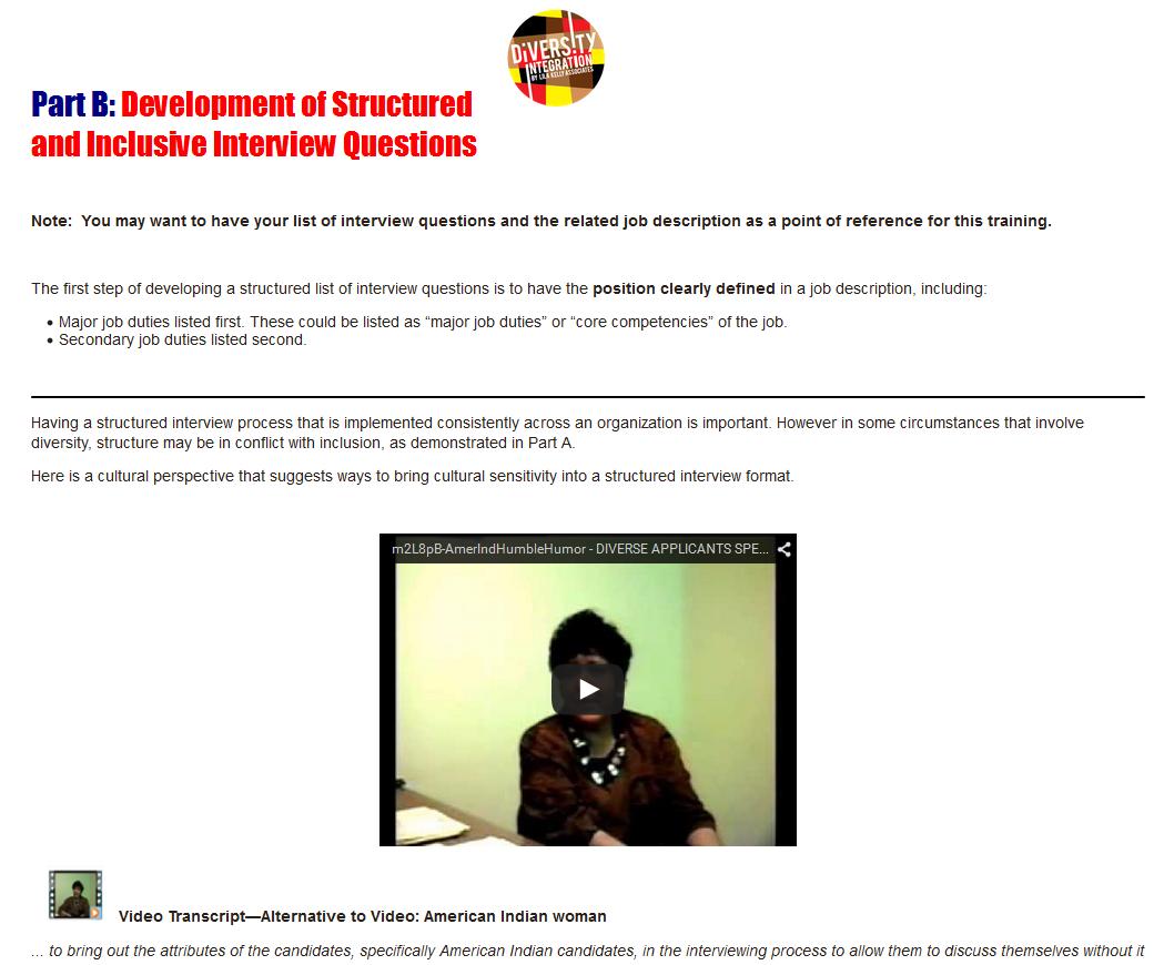 diversity interviewing developing inclusive interview questions onlntrg devinterquests screenshot 2 partb